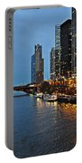 Chicago River At Twilight Portable Battery Charger