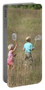 Children Collecting Insects Portable Battery Charger by Ted Kinsman