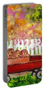 Chilrens Art-boy And Girl With Wagon And Puppies Portable Battery Charger