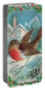 Christmas Card Depicting A Robin  Portable Battery Charger