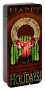 Christmas Card Wreath Color Portable Battery Charger