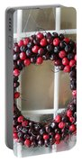 Christmas Cherry Wreath Portable Battery Charger