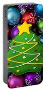 Christmas Tree Cookie With Ornaments Portable Battery Charger
