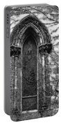 Church Window And Vines Bw Portable Battery Charger