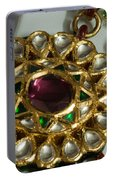 Close Up Of The Gold And Diamond Setting Of A Large Necklace Portable Battery Charger