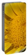 Close Up Of The Inside Of A Yellow And White Sun Flower Portable Battery Charger