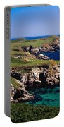 Coastal Cliffs And Seascape With Boat Portable Battery Charger