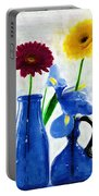 Cobalt Blue Glass Bottles And Gerbera Daisies Portable Battery Charger