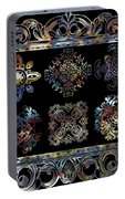 Coffee Flowers Ornate Medallions 6 Piece Collage Aurora Borealis Portable Battery Charger