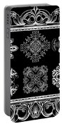 Coffee Flowers Ornate Medallions Bw 6 Piece Collage Framed  Portable Battery Charger