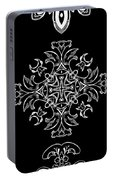 Coffee Flowers Ornate Medallions Bw Vertical Tryptych 1 Portable Battery Charger