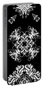 Coffee Flowers Ornate Medallions Bw Vertical Tryptych 2 Portable Battery Charger