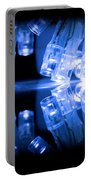 Cold Blue Led Lights Closeup Portable Battery Charger