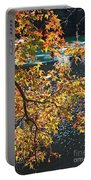 Colorful Fall Leaves Over Blue Water Portable Battery Charger