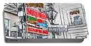 Colorful Neon Sign On Bourbon Street Corner French Quarter New Orleans Colored Pencil Digital Art Portable Battery Charger