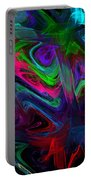 Computer Generated Blue Green Abstract Wave Fractal Flame Modern Art Portable Battery Charger