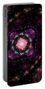 Computer Generated Pink Magenta Abstract Fractal Flame Black Background Portable Battery Charger