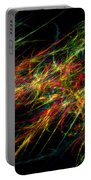 Computer Generated Red Green Abstract Fractal Flame Black Background Portable Battery Charger
