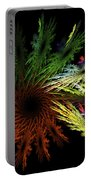 Computer Generated Red Yellow Green Abstract Fractal Flame Black Portable Battery Charger