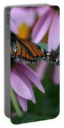 Cone Flowers And Monarch Butterfly Portable Battery Charger
