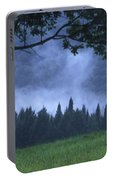 Coniferous Trees Early In The Morning Portable Battery Charger