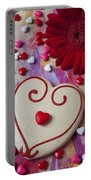 Cookie And Candy Hearts Portable Battery Charger by Garry Gay