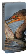 Cormorant With Large Fish Portable Battery Charger