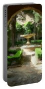 Courtyard In Sunshine Through Moorish Arches Portable Battery Charger
