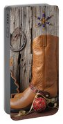 Cowboy Boots And Christmas Ornaments Portable Battery Charger