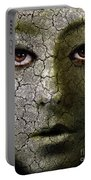 Creepy Cracked Face With Tears Portable Battery Charger by Jill Battaglia