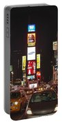 Crossing The Street At Times Square At Night Portable Battery Charger