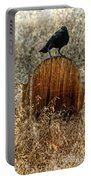Crow On Old Wooden Grave Portable Battery Charger