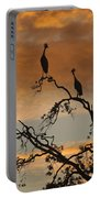 Crowned Cranes At Sunrise Portable Battery Charger