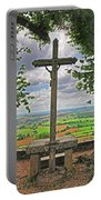Crucifix Overlooking The French Countryside Portable Battery Charger