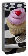Cupcake With Heart On Checker Plate Portable Battery Charger by Garry Gay