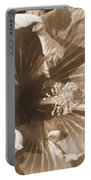 Curly Hibiscus In Sepia Portable Battery Charger
