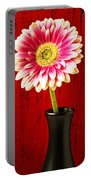 Daisy In Black Vase Portable Battery Charger