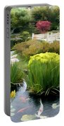 Deep Panorama Of Japanese Garden And Koi Portable Battery Charger