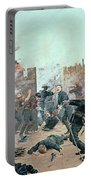 Defending The Fort Portable Battery Charger by Charles Schreyvogel