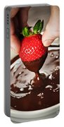 Dipping Strawberry In Chocolate Portable Battery Charger