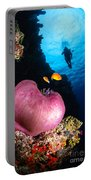Diver And Magnificent Anemone, Fiji Portable Battery Charger