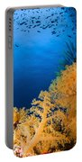 Diver Hovering Over Soft Coral Reef Portable Battery Charger