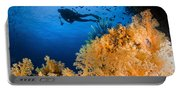 Diver Swimms Above Soft Coral, Fiji Portable Battery Charger