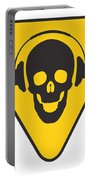 Dj Skull On Hazard Triangle Portable Battery Charger by Pixel Chimp