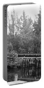 Dock On The River In Black And White Portable Battery Charger
