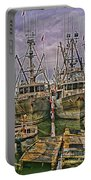 Docked Fishing Boats Hdr Portable Battery Charger