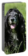 Dog Sitting On The Green Grass Portable Battery Charger
