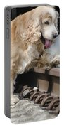 Dog Walking Over Railroad Tracks Portable Battery Charger