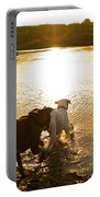 Dogs At Sunset Portable Battery Charger by Stephanie McDowell