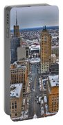 Downtown Court St Winter Scene Portable Battery Charger